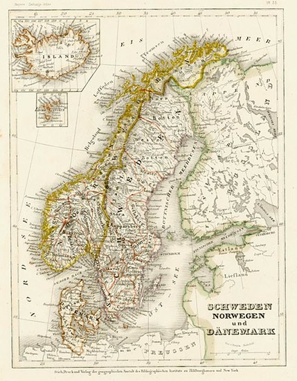 95-Europe, Scandinavia, Iceland and Balearic Islands Map By Joseph Meyer