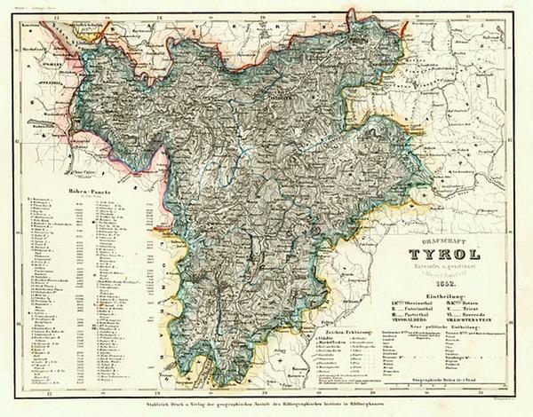 64-Europe, Switzerland and Austria Map By Joseph Meyer