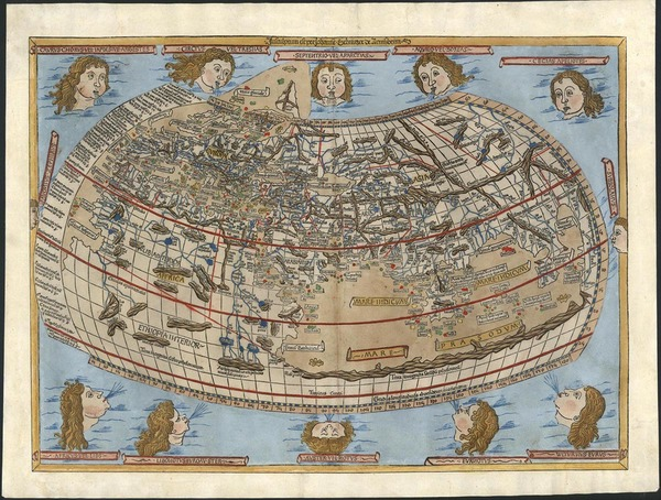 17-World and World Map By Claudius Ptolemy / Lienhart Holle