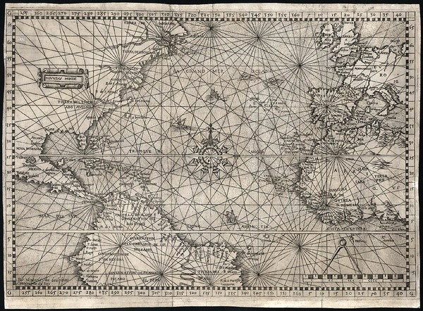 33-Atlantic Ocean, United States, North America, South America and America Map By Nicolas De Nicol