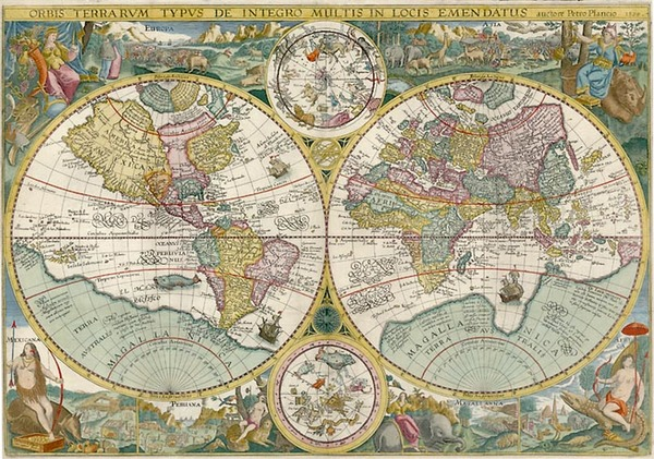 72-World, World, Curiosities and Celestial Maps Map By Petrus Plancius