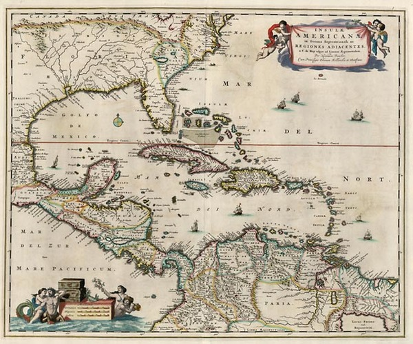 33-South, Southeast, Caribbean and Central America Map By Nicolaes Visscher I