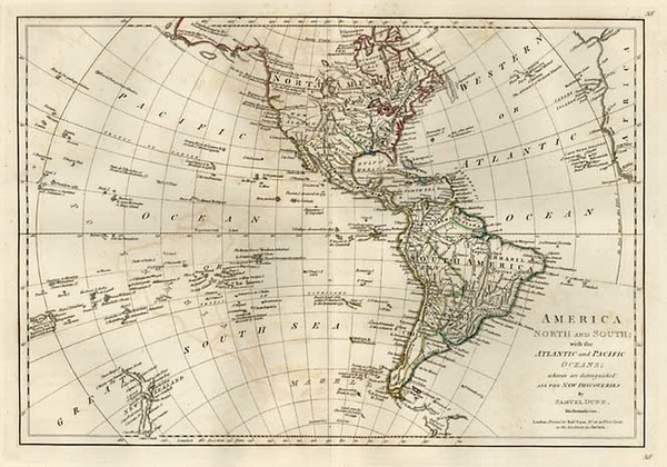 74-World, Western Hemisphere, South America, Pacific and America Map By Samuel Dunn