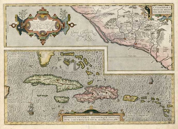 30-Southeast, Mexico and Caribbean Map By Abraham Ortelius