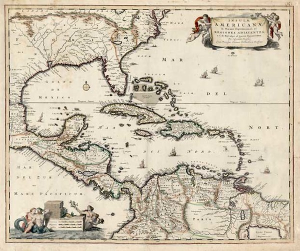 76-South, Southeast, Caribbean and Central America Map By Nicolaes Visscher I