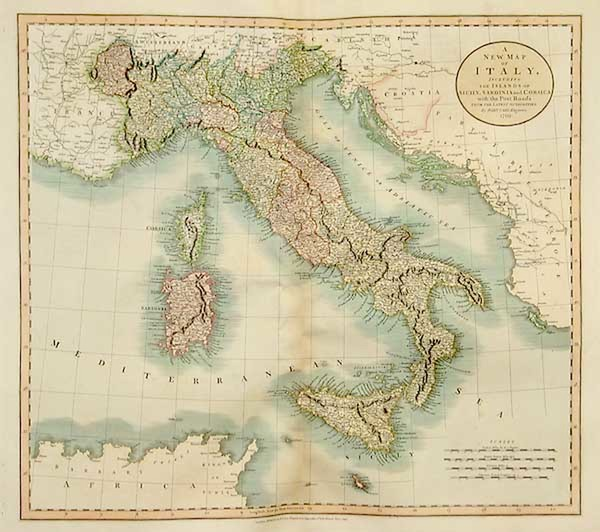 0-Europe, Italy, Mediterranean and Balearic Islands Map By John Cary