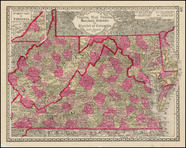 77-Mid-Atlantic and Southeast Map By H.C. Tunison