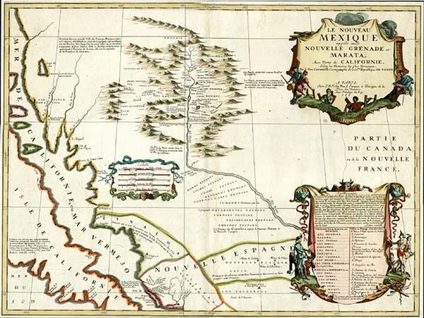21-Texas, Southwest, Mexico and California Map By Vincenzo Maria Coronelli / Jean-Baptiste Nolin
