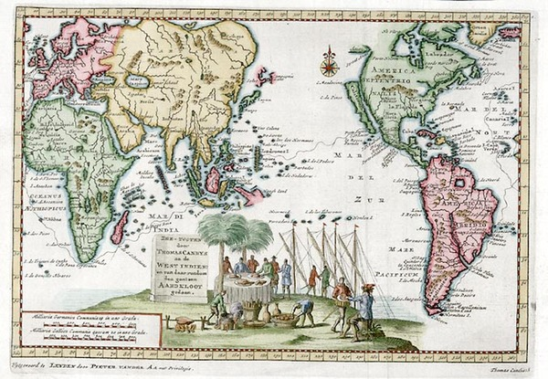 69-World, World, South America, Pacific and America Map By Pieter van der Aa
