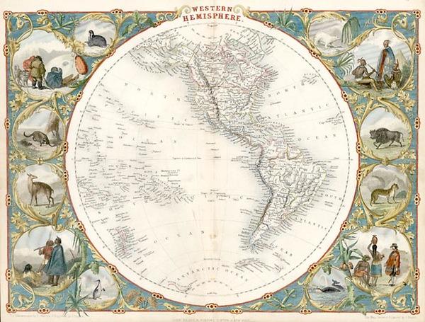 77-World, World, Western Hemisphere, South America and America Map By John Tallis