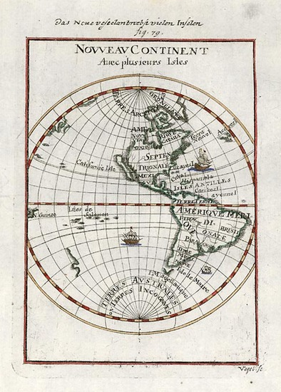 82-World, Western Hemisphere, South America and America Map By Alain Manesson Mallet