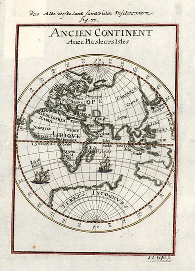 68-World and Eastern Hemisphere Map By Alain Manesson Mallet