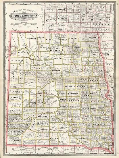 23-South Dakota and Canada Map By George F. Cram