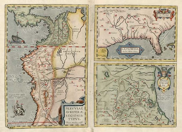 98-South, Southeast, Central America and South America Map By Abraham Ortelius