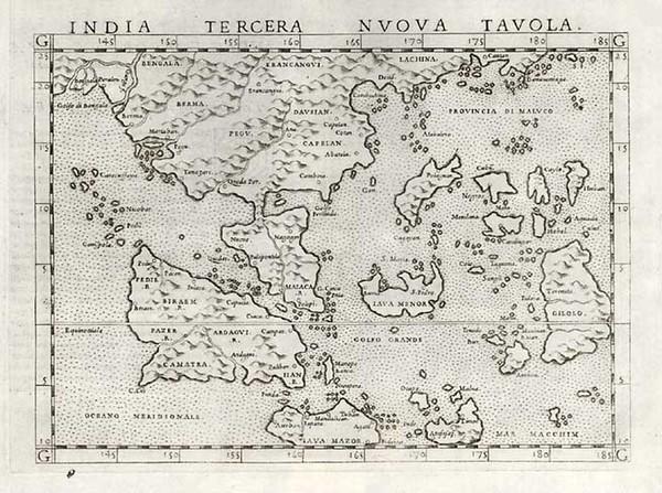 65-Asia, China, India and Southeast Asia Map By Girolamo Ruscelli