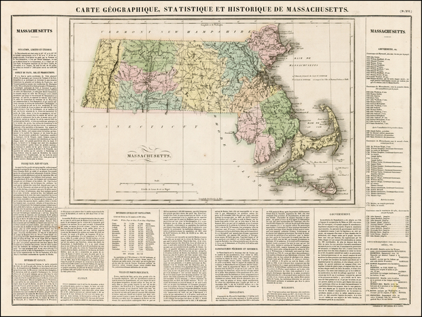 63-New England and Massachusetts Map By Jean Alexandre Buchon