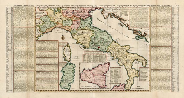 56-Europe, Italy and Balearic Islands Map By Henri Chatelain