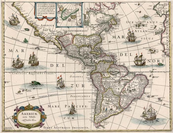 68-South America and America Map By Willem Janszoon Blaeu
