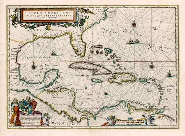 44-South, Southeast, Caribbean and Central America Map By Willem Janszoon Blaeu
