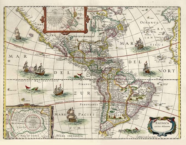 95-South America and America Map By Jodocus Hondius / Jan Jansson