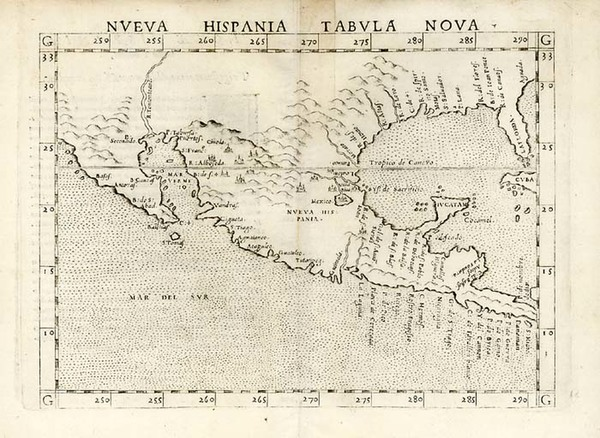 7-South, Southeast, Southwest and Mexico Map By Girolamo Ruscelli