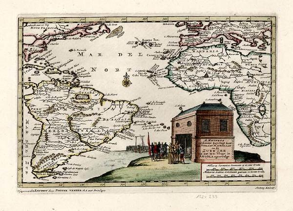 69-World, Atlantic Ocean, South America and America Map By Pieter van der Aa