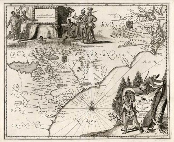 16-Mid-Atlantic and Southeast Map By John Ogilby / Arnoldus Montanus