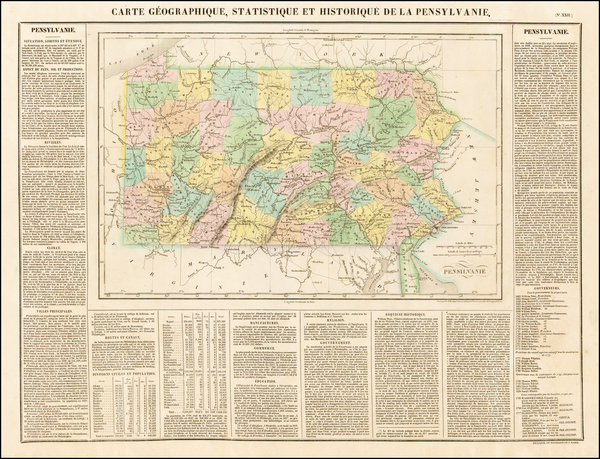 67-Pennsylvania Map By Jean Alexandre Buchon