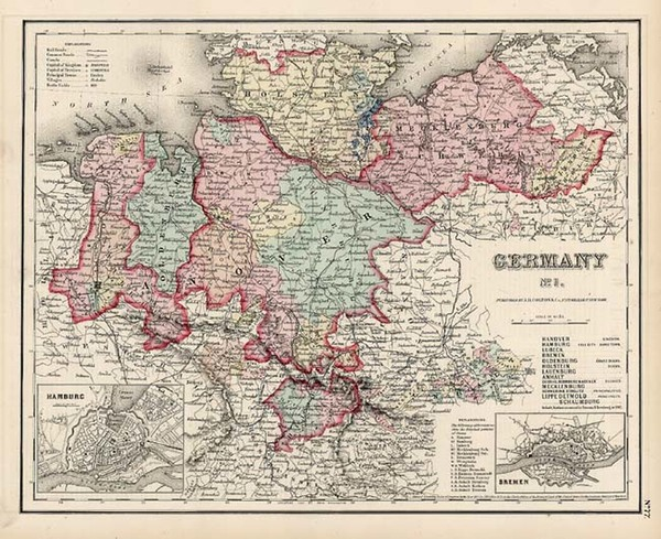 10-Europe, Germany and Baltic Countries Map By Joseph Hutchins Colton