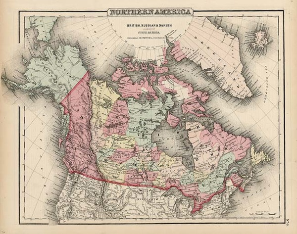36-Alaska and Canada Map By Joseph Hutchins Colton