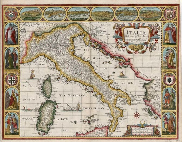 6-Europe, Balkans, Italy, Mediterranean and Balearic Islands Map By John Speed