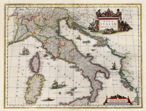 73-Europe, Italy and Balearic Islands Map By Willem Janszoon Blaeu