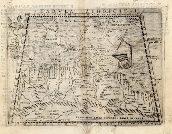 4-Europe, Mediterranean, Balearic Islands, Africa and North Africa Map By Giacomo Gastaldi