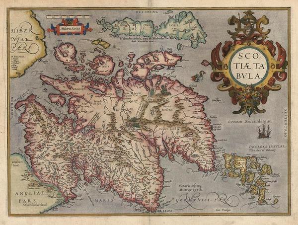 16-Scotland Map By Abraham Ortelius