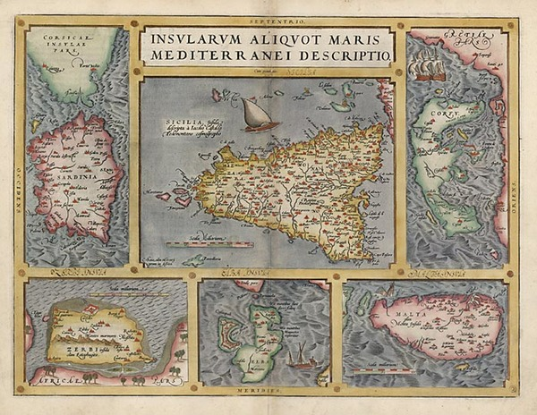 26-Europe, Italy, Greece, Mediterranean and Balearic Islands Map By Abraham Ortelius