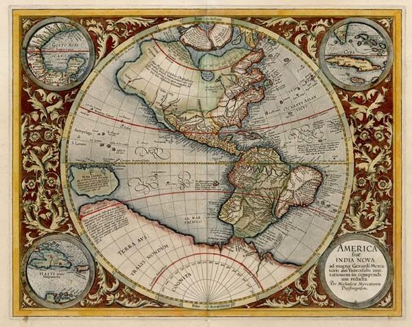 97-World, Western Hemisphere, Polar Maps, South America and America Map By Michael Mercator