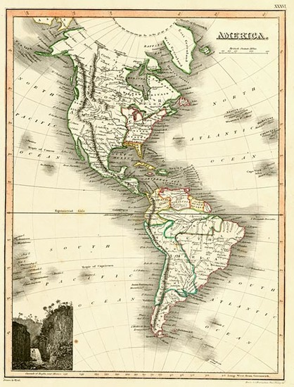 52-South America and America Map By John Wyld
