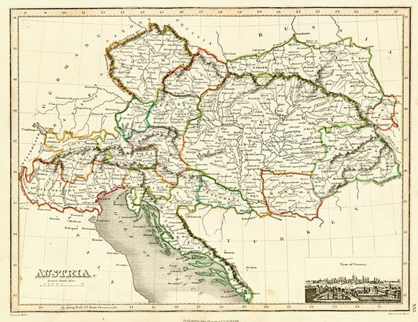 73-Europe, Austria, Poland and Hungary Map By John Wyld