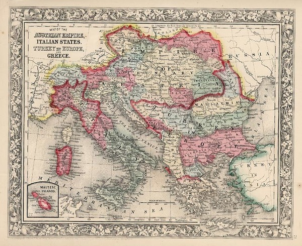 69-Europe, Austria, Balkans, Greece and Balearic Islands Map By Samuel Augustus Mitchell Jr.
