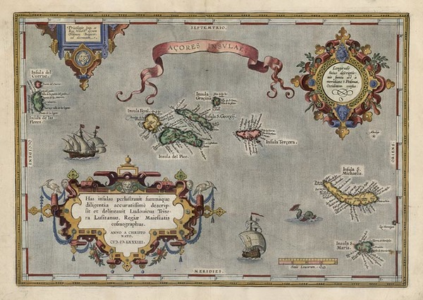 59-World, Atlantic Ocean, Europe, Portugal and Balearic Islands Map By Abraham Ortelius