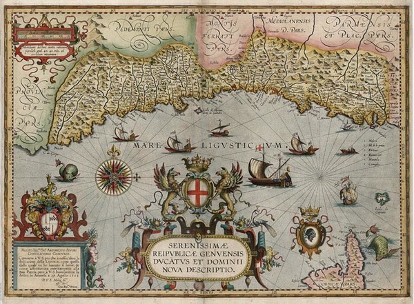 95-Europe, France and Italy Map By Abraham Ortelius / Johannes Baptista Vrients