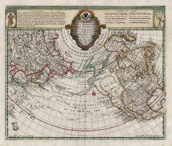6-World, Polar Maps, Alaska and North America Map By Joseph Nicholas de L'Isle  &  Leonard Vo