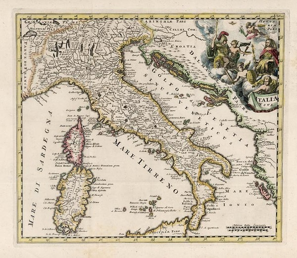 48-Europe, Italy and Balearic Islands Map By Philipp Clüver