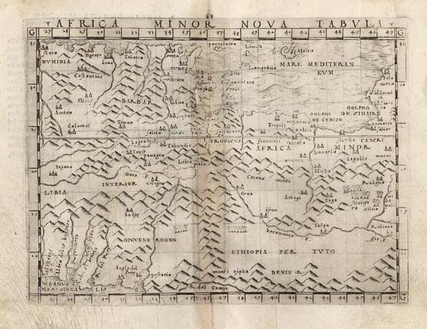 70-Mediterranean, Balearic Islands and North Africa Map By Giacomo Gastaldi