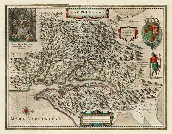 67-Mid-Atlantic and Southeast Map By Henricus Hondius