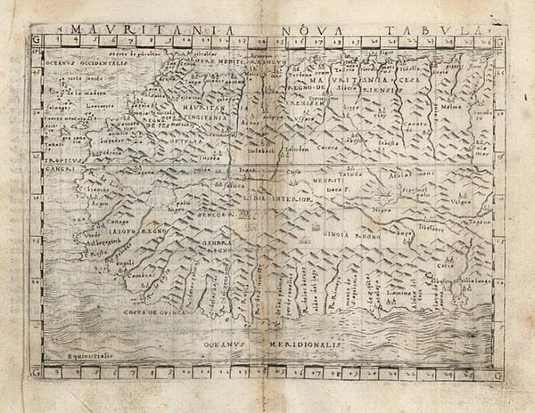 39-Africa, North Africa and West Africa Map By Giacomo Gastaldi