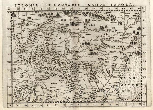 53-Europe, Poland, Hungary, Czech Republic & Slovakia and Balkans Map By Girolamo Ruscelli