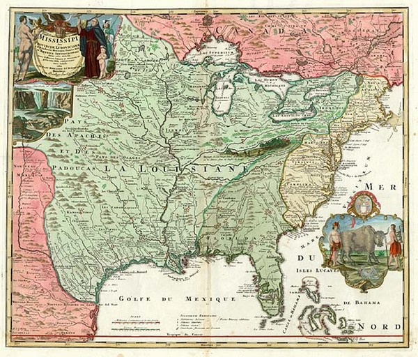 42-United States, South, Southeast and Midwest Map By Johann Baptist Homann