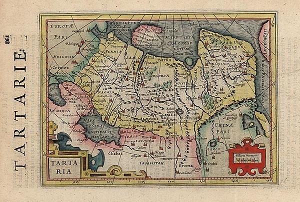 31-Alaska, Asia, China, Central Asia & Caucasus and Russia in Asia Map By Jodocus Hondius - Mi