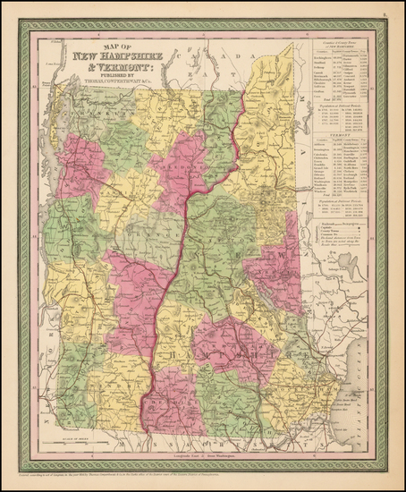 75-New England, New Hampshire and Vermont Map By Thomas, Cowperthwait & Co.